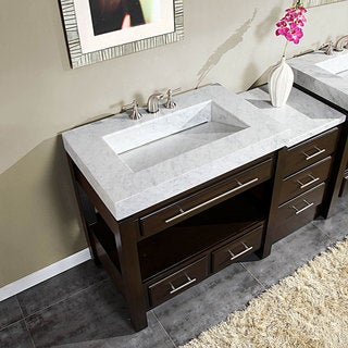 Silkroad Exclusive 56-inch Carrara White Marble Bathroom Vanity