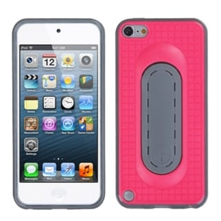 Insten Hot Pink/ Gray Checker TPU Rubber Candy Skin Case Cover with Stand For Apple iPod Touch 5th/ 6th Gen