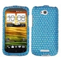 BasAcc Blue/ White Dots Diamante Case for HTC One VX