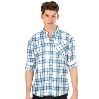 191 Unlimited Men's Blue Plaid Slim Fit Woven Shirt