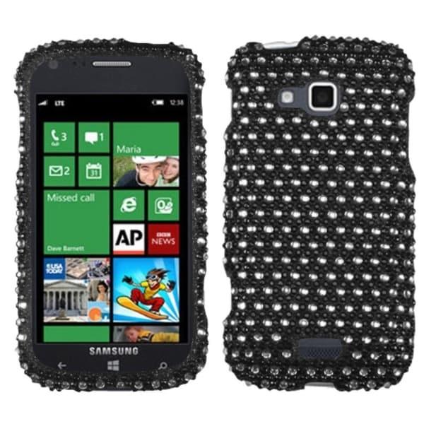 INSTEN Black/ White Dots Diamante Phone Case Cover for Samsung i930 ATIV Odyssey