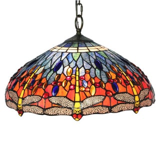 Amora Lighting Tiffany Style Dragonfly Hanging Lamp
