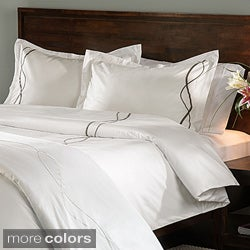 Marc TheeStrands 350 Thread Count Twill Weave Cotton Embroidered Duvet Cover and Pillow Sham Separate
