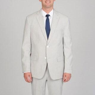 Luca Bertoni Men's Black Stripe Seersucker Suit