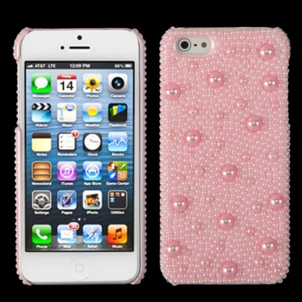 INSTEN Pink Pearl/ Diamante Back Phone Case Cover for Apple iPhone 5