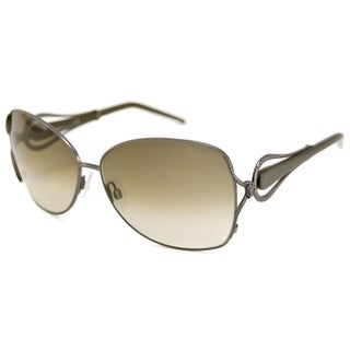 Roberto Cavalli Women's RC595S Iperico Rectangular Sunglasses in Gunmetal/Brown Gradient