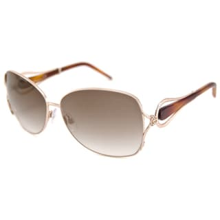 Roberto Cavalli Women's RC595S Iperico Gold-and-Brown Rectangular Sunglasses