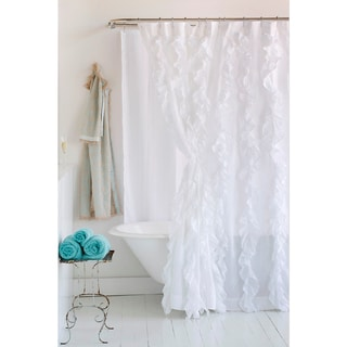Tuxedo White Ruffled Cotton Shower Curtain