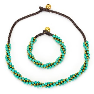 Thai-handicraft Turquoise and Brass 'Twisted' Necklace and Bracelet Set (Thailand)