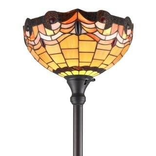 Amora Lighting Tiffany Style Torchiere Lamp