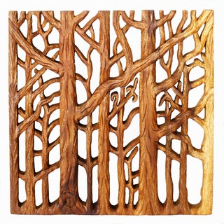 Hand-carved 'Tree Life Through' 18 x 18-inch 3-panel Golden Oak Oil Wall Panel SQ Set , Handmade in Thailand