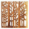 Hand Carved Tree Life Wall Panel (Thailand)