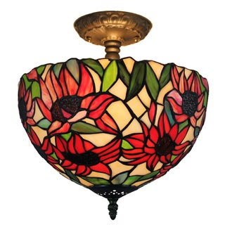 Amora Lighting Tiffany Style Sunflower Ceiling Lamp