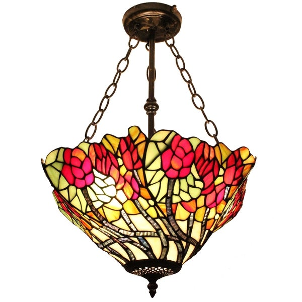 Amora Lighting Tiffany Style Floral Hanging Lamp