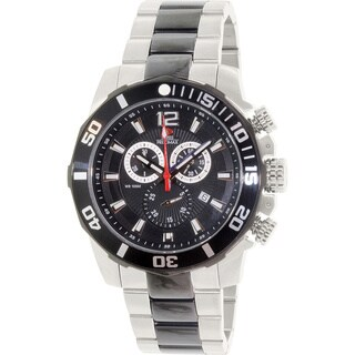 Swiss Precimax Men's 'Crew Pro SP13259' Two-tone Stainless Steel Black Dial Swiss Chronograph Watch