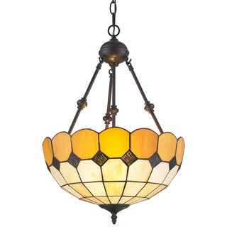 Amora Lighting Tiffany Style Amber Hanging Lamp