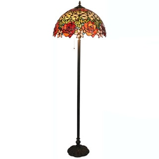 Amora lighting tiffany style roses floor lamp overstock for Overstock tiffany floor lamp