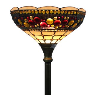 Amora Lighting Tiffany Style Torchiere Jeweled Lamp
