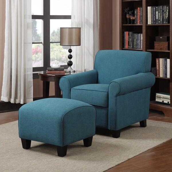 Portfolio Mira Caribbean Blue Linen Arm Chair and Ottoman