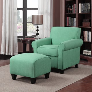 Better Living Mira Soft Emerald Green Linen Arm Chair and Ottoman