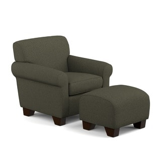 Portfolio Mira Basil Grey Linen Arm Chair and Ottoman