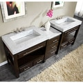 Silkroad Exclusive 92-inch Carrara White Marble Stone Countertop Bathroom Vanity