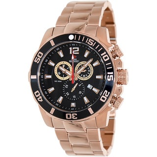 Swiss Precimax Men's 'Crew Pro SP13257' Rose Goldtone Stainless Steel Black Dial Swiss Chronograph W