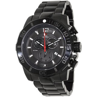 Swiss Precimax Men's 'Crew Pro SP13253' Black Stainless Steel Swiss Chronograph Watch