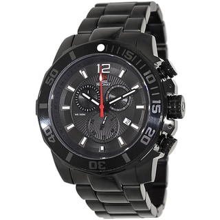 Swiss Precimax Men's 'Crew Pro SP13253' Black Stainless Steel Swiss Chronograph Watch