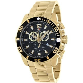 Swiss Precimax Men's 'Crew Pro SP13254' Goldtone Stainless Steel Black Dial Swiss Chronograph Watch