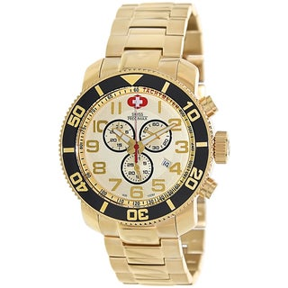 Swiss Precimax Men's Verto Pro Gold Stainless-Steel Band Sapphimax Crystal Swiss Chronograph Watch