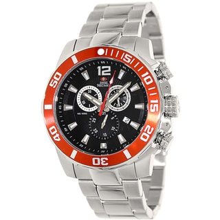 Swiss Precimax Men's Crew Pro Silver Stainless-Steel Black Dial Swiss Chronograph Watch