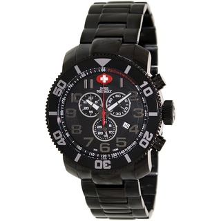 Swiss Precimax Men's Verto Pro Black Stainless-Steel Band Swiss Chronograph Watch with Gray Hands