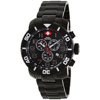 Swiss Precimax Men's Verto Pro Black Stainless-Steel Band Swiss Chronograph Watch with Black Dial