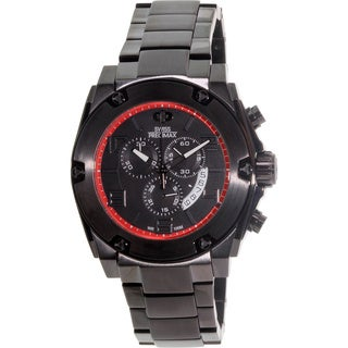 Swiss Precimax Men's Admiral Pro Black Stainless-Steel Band Chronograph Watch with Black Dial