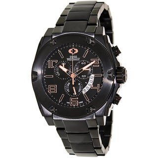 Swiss Precimax Men's Admiral Pro Black Stainless-Steel Band Black-Dial Swiss Chronograph Watch