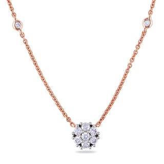 Miadora 14k Rose Gold 1/3ct TDW Diamond Station Necklace (G-H, I1-I2)