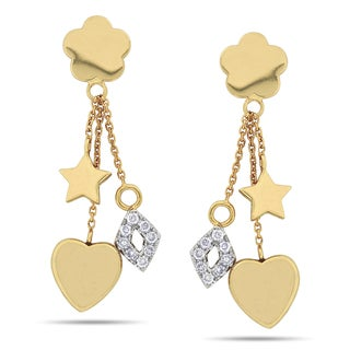 Miadora Signature Collection 14k Yellow Gold 1/4ct TDW Diamond Dangle Earrings (G-H, SI1-SI2)