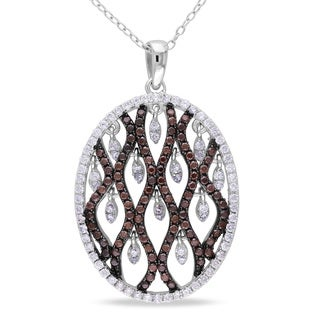 Miadora Sterling Silver Brown and White Cubic Zirconia Necklace