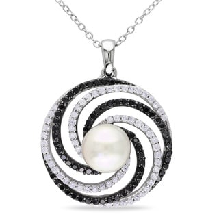 Miadora Sterling Silver Faux Pearl and Cubic Zirconia Necklace (8 mm)