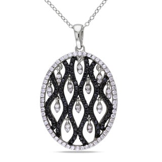 M by Miadora Sterling Silver Black and White Cubic Zirconia Necklace