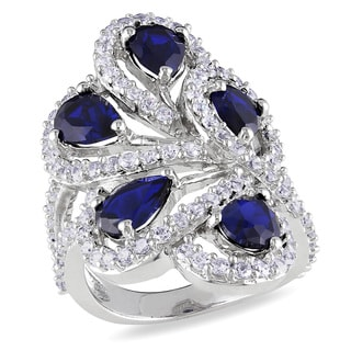 Miadora Sterling Silver Blue and White Cubic Zirconia Ring