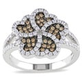 Miadora Sterling Silver Brown and White Cubic Zirconia Ring