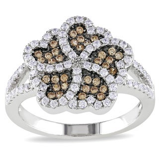 Miadora Sterling Silver Brown-and-white Round-cut Cubic Zirconia Ring