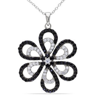 Miadora Sterling Silver Black and White Cubic Zirconia Flower Necklace