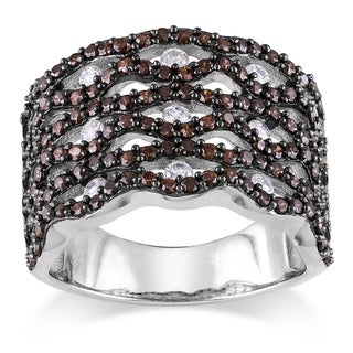 Miadora Sterling Silver Brown-and-white Prong-set Cubic Zirconia Ring