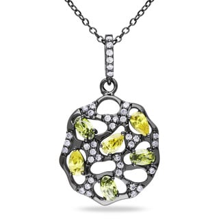 M by Miadora Sterling Silver Yellow and White Cubic Zirconia Necklace