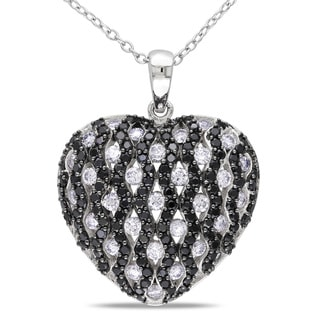 Miadora Sterling Silver Black and White Cubic Zirconia Heart Necklace