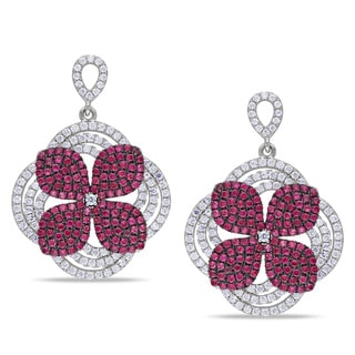 Miadora Sterling Silver Red and White Cubic Zirconia Flower Earrings