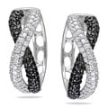 Miadora Sterling Silver Black and White Cubic Zirconia Hoop Earrings